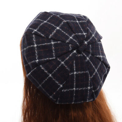 d7c5c1bbf3857 Lolita Girls Plaid Painter Beanie Hat Wool Checks Beret Cap 4 Colors