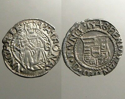 FERDINAND I OF HUNGARY SILVER DENAR______Dated 1548 AD_______Madonna & Child