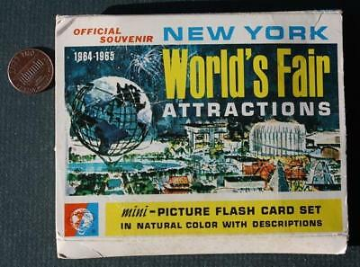 1964-65 New York Worlds Fair Attractions picture flash card set in original box!