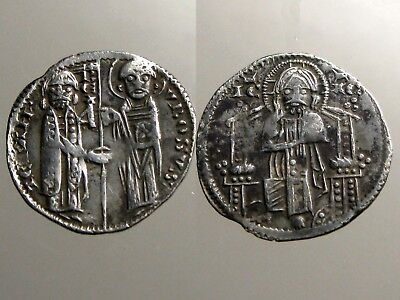 Stefan Uros Silver Dinar___BUST OF CHRIST__King of Medieval Serbia
