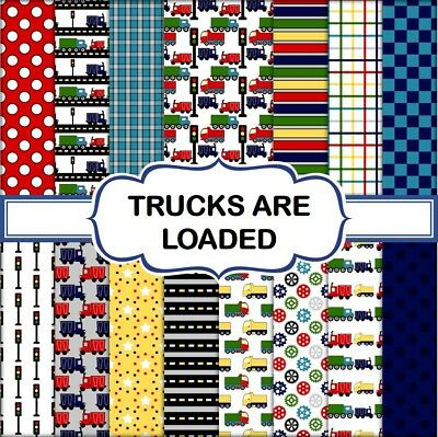 TRUCKS ARE LOADED SCRAPBOOK PAPER - 15 x A4 pages