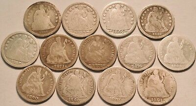 Lot of (13) Seated Liberty Dimes 1841 1853 1854 1857 1873 1874 Arrows Silver 10C