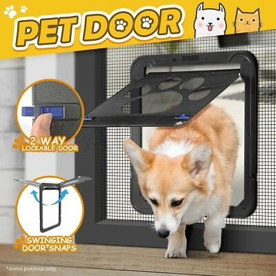 2 Way Lockable Locking Dog Cat Pet Door Safe Security Brushy Flap Puppy Door