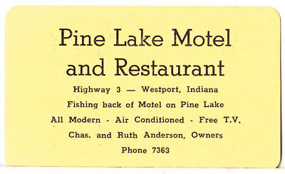Older Advertsiing Bussiness Card: Pine Lake Motel And Resturant