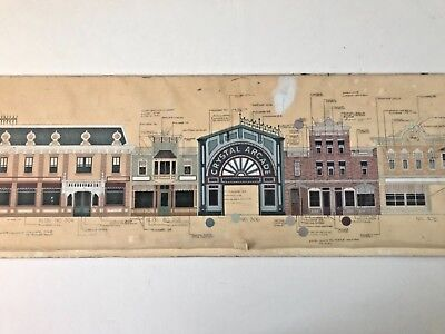 DISNEYLAND PROP VINTAGE hand painted MAIN STREET USA color guide elevation  art