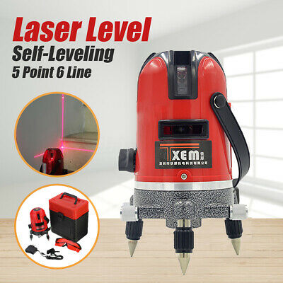 360 Degree Self-leveling Cross Laser Level Red 5 Line 6 Point + Tripod + Case
