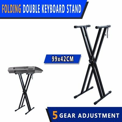 Folding Double Braced X Style Music Piano Keyboard Stand Adjustable Height