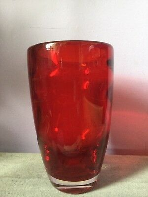 Vintage WHITEFRIARS GLASS Vase RUBY RED Optical Ribbing FLARED 9582