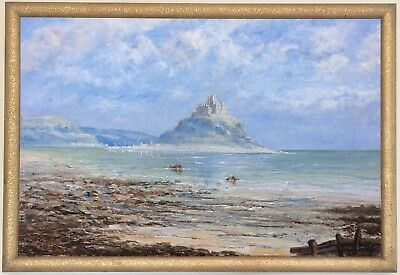 St Michael's Mount Cornwall Antique Oil Painting by John Haswell (1855–1925)
