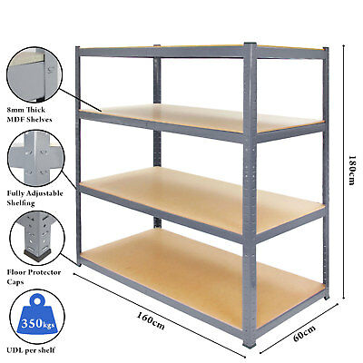 Extra Heavy Duty Shelving 4 Level Garage Steel Racking 350kg UDL Grey Racking
