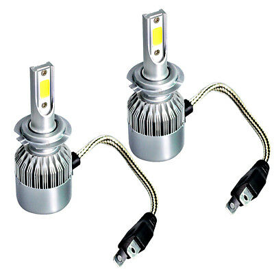 2 x H7 200W 20000LM COB LED Car Headlight Kit High Low Beam Bulbs 6000K White