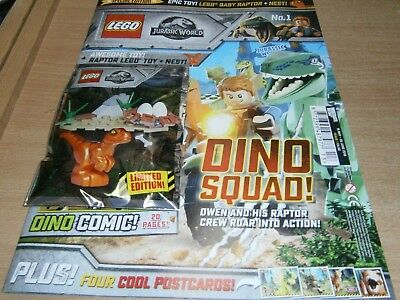 Lego Specials magazine Jurassic World #1 2018 + Raptor Minifigure toy + Nest