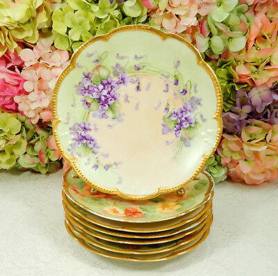 7 Beautiful Antique Limoges Porcelain Plates Hand Painted Artist Signed Gold