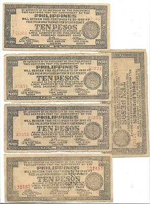 Lot Of 5 Bohol $10 Peso   Phil Wwii Emergency Notes(Phil 151)
