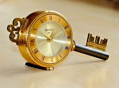 A Vintage Swiza Key Shaped Novelty Swiss Movement 8 Day Wind Up Alarm Clock
