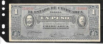 Mexico Chihuahua 1914 Peso Vf Circ Old Banknote Paper Money Currency Bill Note