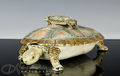Unusual Antique Japanese Okimono Covered Box In The Form Of A Turtle