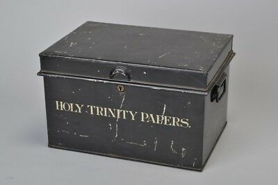 Early C20th Painted Steel Deed Box. Good Condition. Holy Trinity Papers. FDV