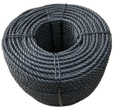 Black 3 Strand Polypropylene Poly Rope 8mm, 10mm and 12mm