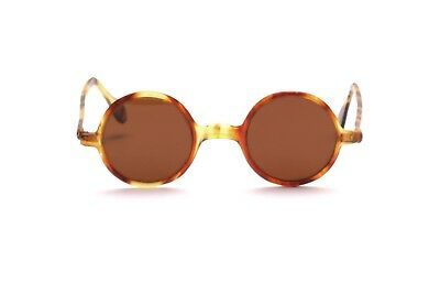 e27a14f60f Vintage 1920s round celluloid sunglasses in brown with brown glass lenses  SG16