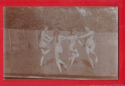 Glamour, Risqué nudes, Erotic card, approx 1920's 4 x girls dancing in a ring