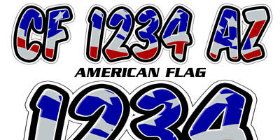 American Flag Custom Boat Registration Numbers Decals Vinyl Lettering Stickers