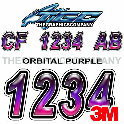 BUTTON PURPLE Custom Boat Registration Number Decals Vinyl Lettering Stickers