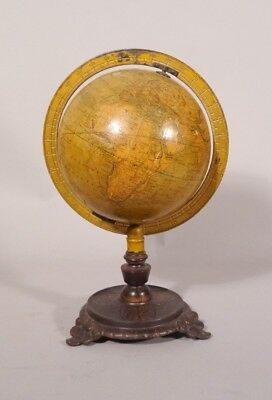 "Antique 1889 SCHEDLERS 6"" Terrestrail World Globe Cast Iron Base"