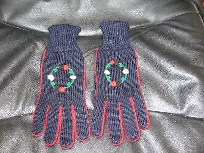 Brand New Pair Of Vintage Ladies Gloves Navy Blue 100% Wool Size M Embroidered