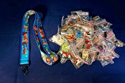 Disney World 25 Pin Trading Lot Lanyard Starter Set Blue Buzz Woody Toy Story 3