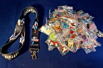 Disney World 25 Pin Trading Lot Lanyard Starter Set Marvel Captain America Black