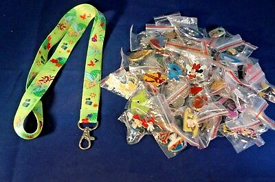 Disney World 25 Pin Trading Lot Lanyard Starter Black Set Peter Pan Tinkerbell