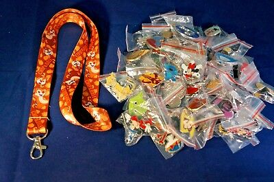 Disney World 25 Pin Trading Lot Lanyard Starter Set Chip and Dale Acorns Nuts