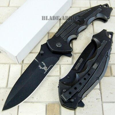 """8.5"""" Black Tactical Team Spring Assisted Open Pocket Knife Combat Camping -W"""