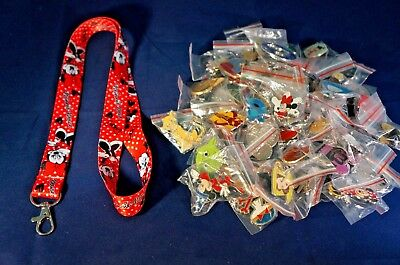 Disney World 25 Pin Trading Lot Lanyard Starter Set Red Minnie Mouse Polka Dots