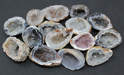Bulk LARGE Oco Agate Geodes 1/4 lb Lot, Natural Crystal Druzy Halves (4 oz)