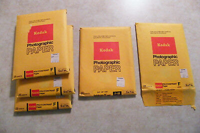 "Vtg Kodak Photographic Paper  Polycontrast F + Kodabrome F M - All 5""x7"" EXPIRED"