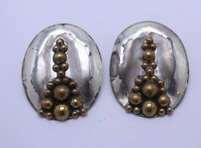 Vintage Pair of Artisan Louis Booth Brass with sterling Earrings.