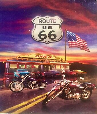 Route 66 Motorcycle Classic Car Diner Vintage Highway Road Large Yard Flag New