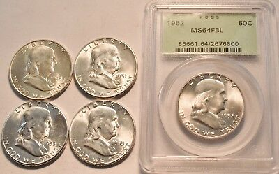 Lot (5) Uncirculated Franklin Half Dollars 1953 S 1952 PCGS MS 64 FBL Silver 50C