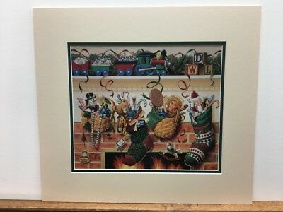 Longaberger Stockings Were Hung & Christmas Baskets Toys Matted Art Print