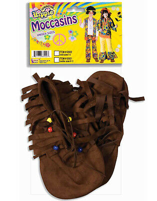 Hippie Native American Moccasins 60'S Brown Fringed Boho Childs Costume Shoes