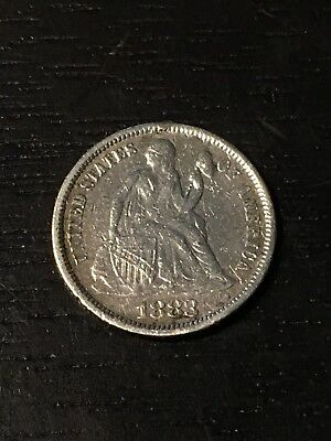 1883 Seated Liberty Dime Love Token - AU Details - US Coins
