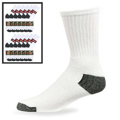 12 Pairs Mens Sports Crew Socks Cotton Calf Cushioned Athletics White Size 10-13