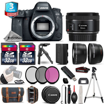 Canon EOS 6D Mark II Camera + 50mm STM -3 Lens Kit +32GB +EXT BATT +3yr Warranty