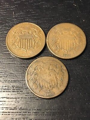 Lot of 3- Two Cent Pieces- 1864, 1865, and 1868 - Higher Grade - US Coins