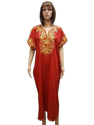 MOROCCAN Women BEACH SUMMER Cotton Dress Kaftan Caftan Heritage Abaya Gelaba RED