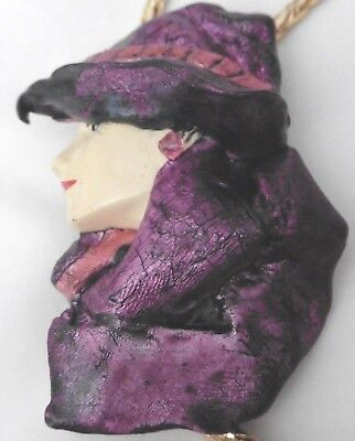 Women's Accessory Bolo Tie Hand Painted Lady with Hat Purple