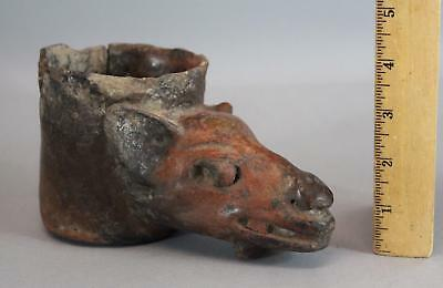 Ancient Authentic Pre Columbian Colima Red Slip Pottery Dog or Deer Libation Cup