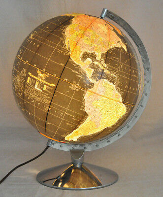 "VTG Replogle 12"" Black Illuminated Starlight Globe Lamp Chrome Base Art Deco"